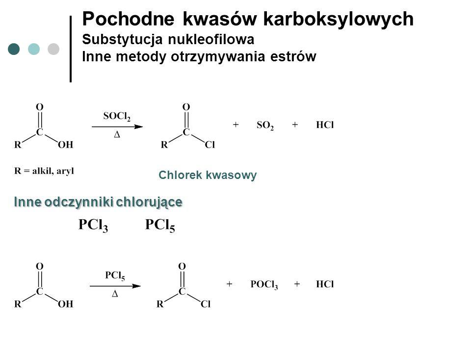 Pochodne kwasów karboksylowych Substytucja nukleofilowa Inne metody otrzymywania estrów Chlorek kwasowy Inne odczynniki chlorujące