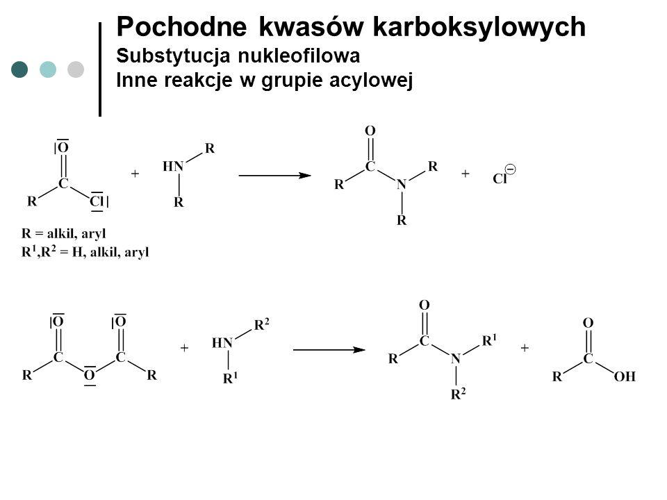 Pochodne kwasów karboksylowych Substytucja nukleofilowa Inne reakcje w grupie acylowej