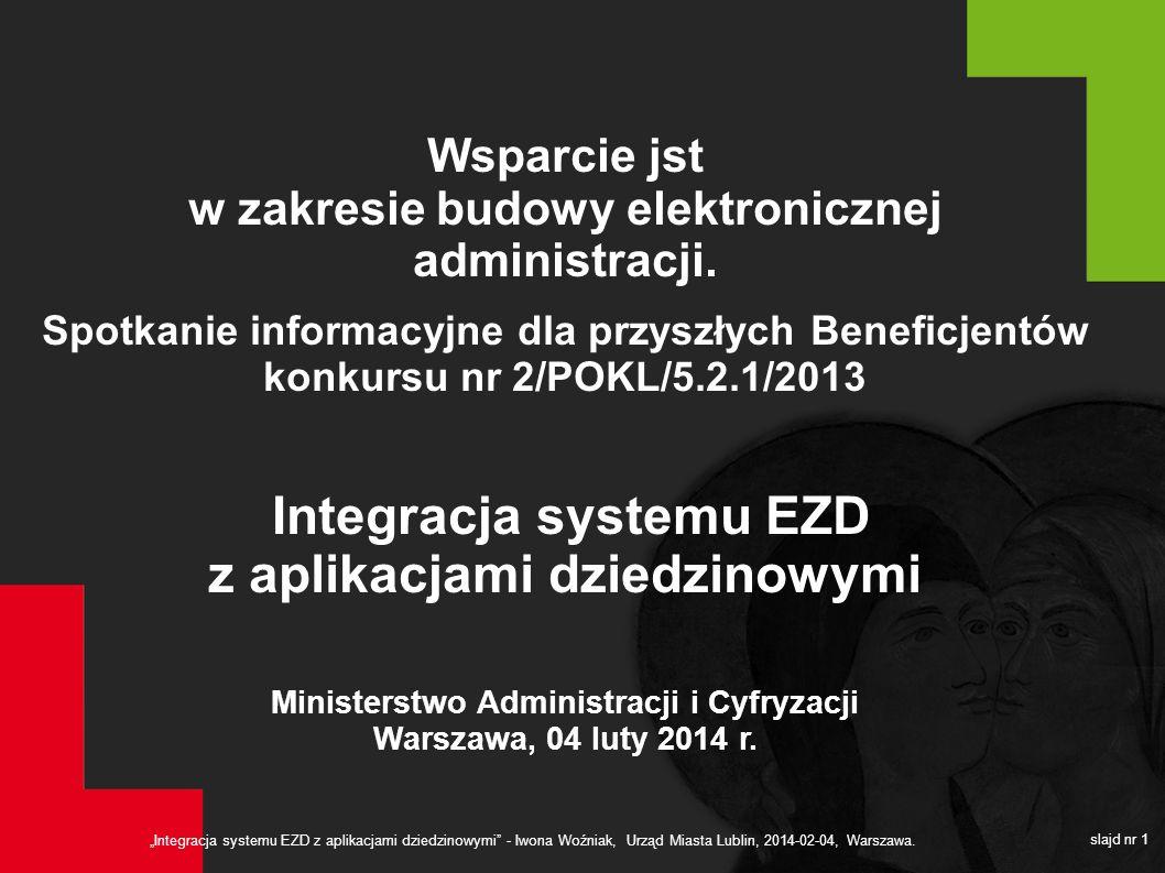 Integracja systemu EZD z aplikacjami dziedzinowymi - Iwona Woźniak, Urząd Miasta Lublin, 2014-02-04, Warszawa. slajd nr 1 Wsparcie jst w zakresie budo