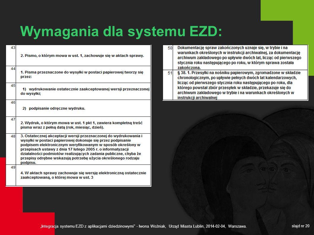 Integracja systemu EZD z aplikacjami dziedzinowymi - Iwona Woźniak, Urząd Miasta Lublin, 2014-02-04, Warszawa. slajd nr 20 Wymagania dla systemu EZD: