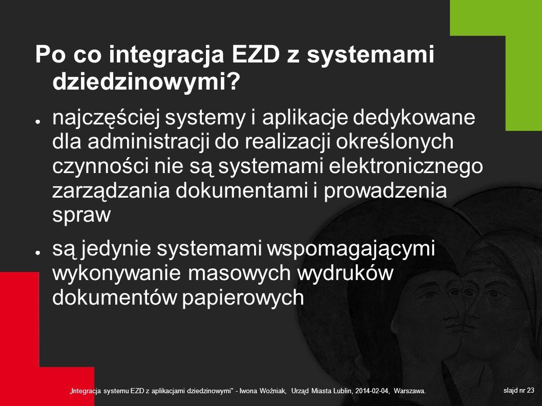 Integracja systemu EZD z aplikacjami dziedzinowymi - Iwona Woźniak, Urząd Miasta Lublin, 2014-02-04, Warszawa. slajd nr 23 Po co integracja EZD z syst