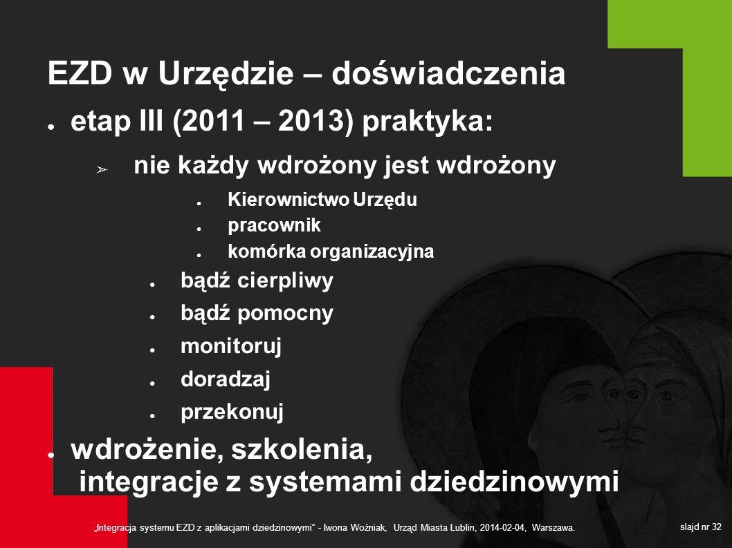 Integracja systemu EZD z aplikacjami dziedzinowymi - Iwona Woźniak, Urząd Miasta Lublin, 2014-02-04, Warszawa. slajd nr 32 EZD w Urzędzie – doświadcze