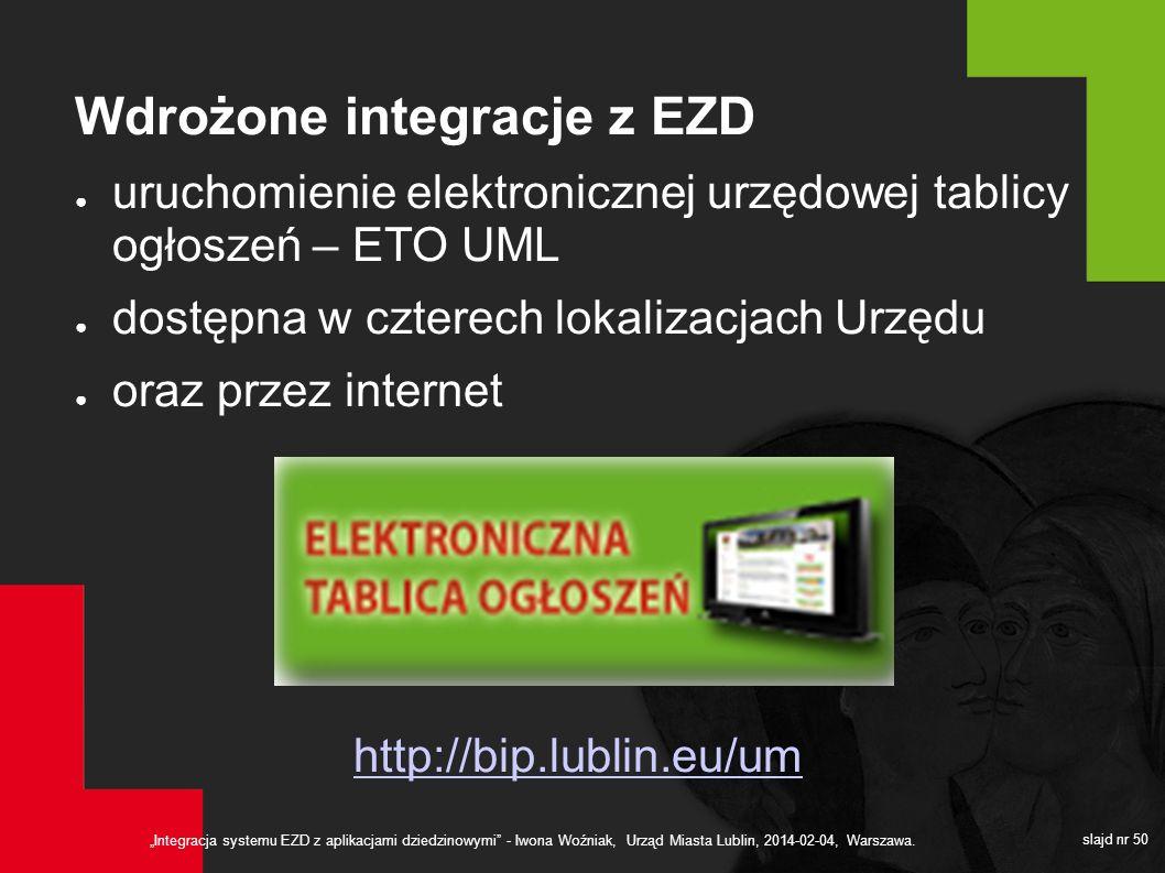 Integracja systemu EZD z aplikacjami dziedzinowymi - Iwona Woźniak, Urząd Miasta Lublin, 2014-02-04, Warszawa. slajd nr 50 Wdrożone integracje z EZD u