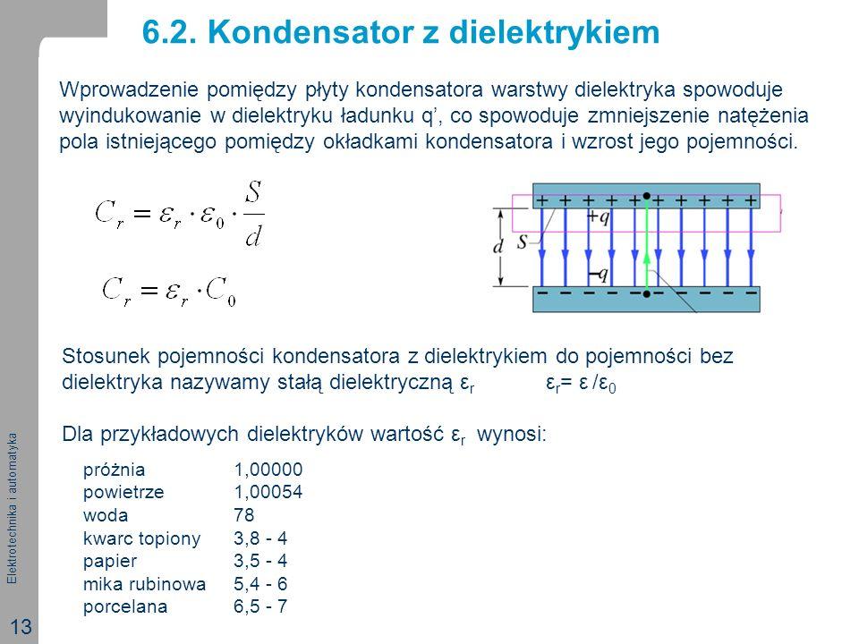Elektrotechnika i automatyka 13 6.2. Kondensator z dielektrykiem Wprowadzenie pomiędzy płyty kondensatora warstwy dielektryka spowoduje wyindukowanie