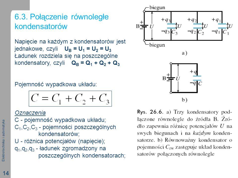 Elektrotechnika i automatyka 14 6.3. Połączenie równoległe kondensatorów Napięcie na każdym z kondensatorów jest jednakowe, czyli U B = U 1 = U 2 = U
