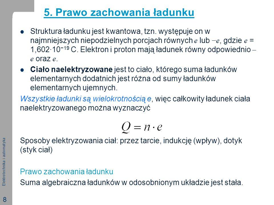 Elektrotechnika i automatyka 8 Struktura ładunku jest kwantowa, tzn. występuje on w najmniejszych niepodzielnych porcjach równych e lube, gdzie e = 1,
