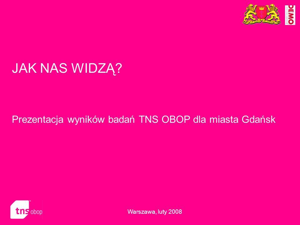 JAK NAS WIDZĄ? Prezentacja wyników badań TNS OBOP dla miasta Gdańsk Warszawa, luty 2008