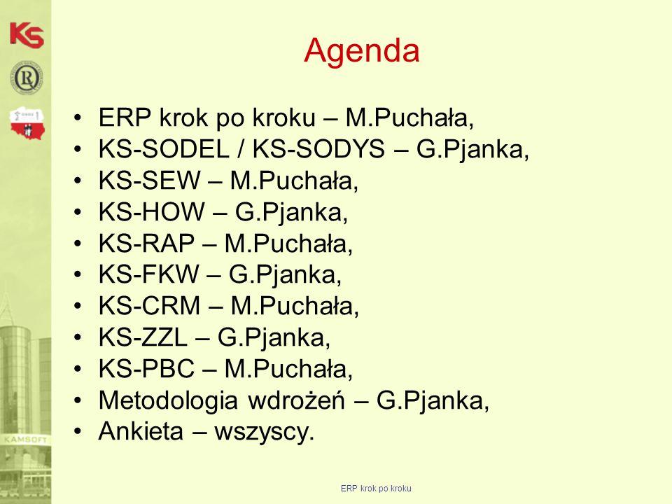 ERP krok po kroku Agenda ERP krok po kroku – M.Puchała, KS-SODEL / KS-SODYS – G.Pjanka, KS-SEW – M.Puchała, KS-HOW – G.Pjanka, KS-RAP – M.Puchała, KS-