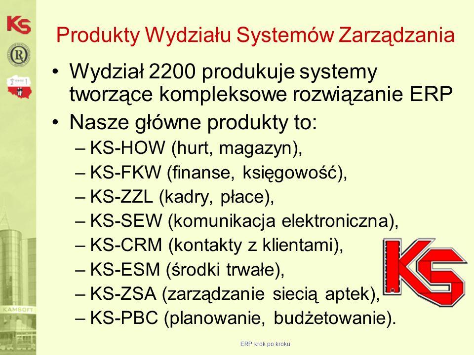 ERP krok po kroku Propozycja rozszerzenia współpracy Grupa docelowa: Oddziały i Partnerzy, Cel: zwiększenie obrotów KAMSOFT oraz firm współpracujących, Poprzez: rozszerzenie wachlarza produktów oferowanych przez grupę docelową, Obejmuje: KS-HOW, KS-FKW, KS-ZZL, KS-CRM (bez KS-ZPL), KS-SEW, KS-ESM, KS-PBC, Dotyczy: –wsparcia w poznawaniu produktów objętych programem, –wprowadzenia korzystnych zasad rozliczeń finansowych, Obowiązuje od: momentu przekazania nowych zasad formalnym dokumentem, Obowiązuje do: końca 2009 roku.