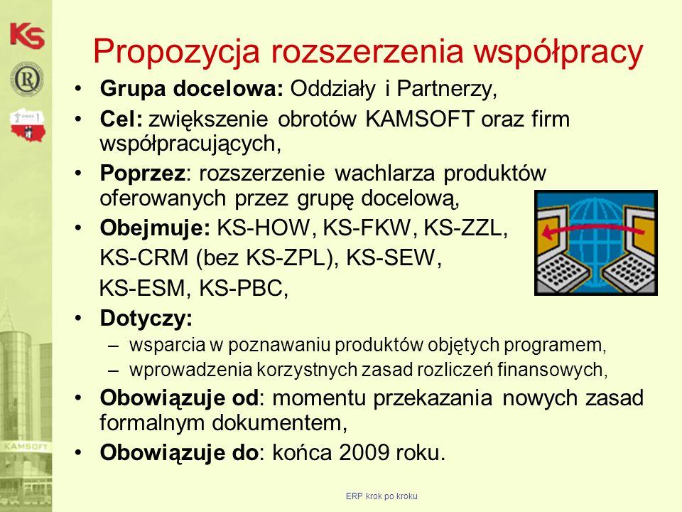 ERP krok po kroku Propozycja rozszerzenia współpracy Grupa docelowa: Oddziały i Partnerzy, Cel: zwiększenie obrotów KAMSOFT oraz firm współpracujących