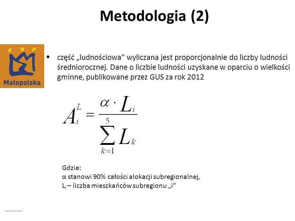 Metodologia (2) część ludnościowa wyliczana jest proporcjonalnie do liczby ludności średniorocznej. Dane o liczbie ludności uzyskane w oparciu o wielk