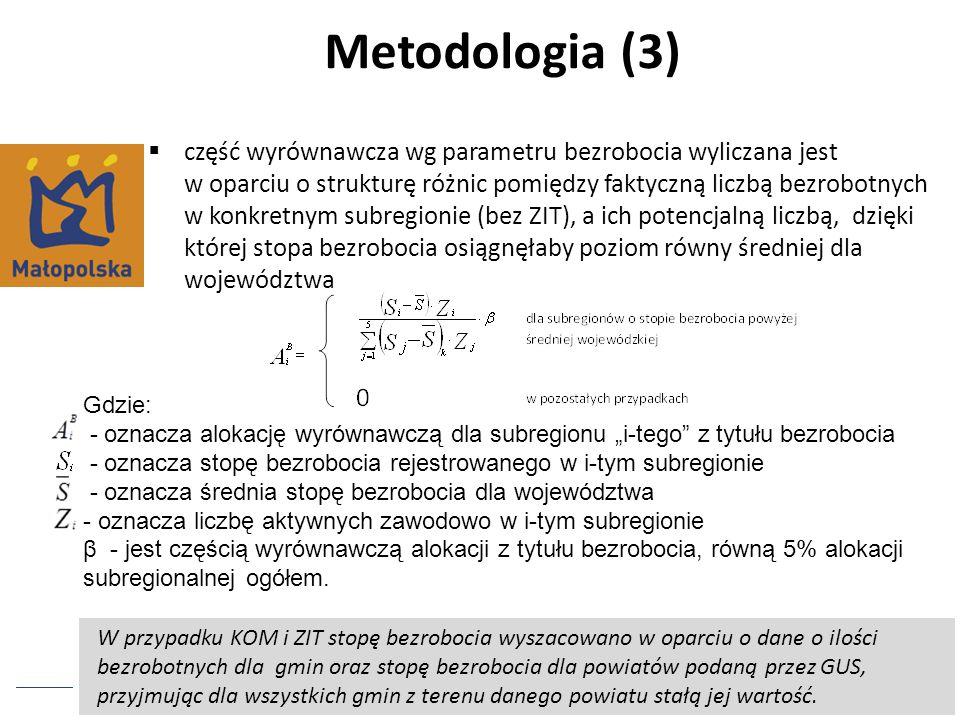 Metodologia (3) część wyrównawcza wg parametru bezrobocia wyliczana jest w oparciu o strukturę różnic pomiędzy faktyczną liczbą bezrobotnych w konkret