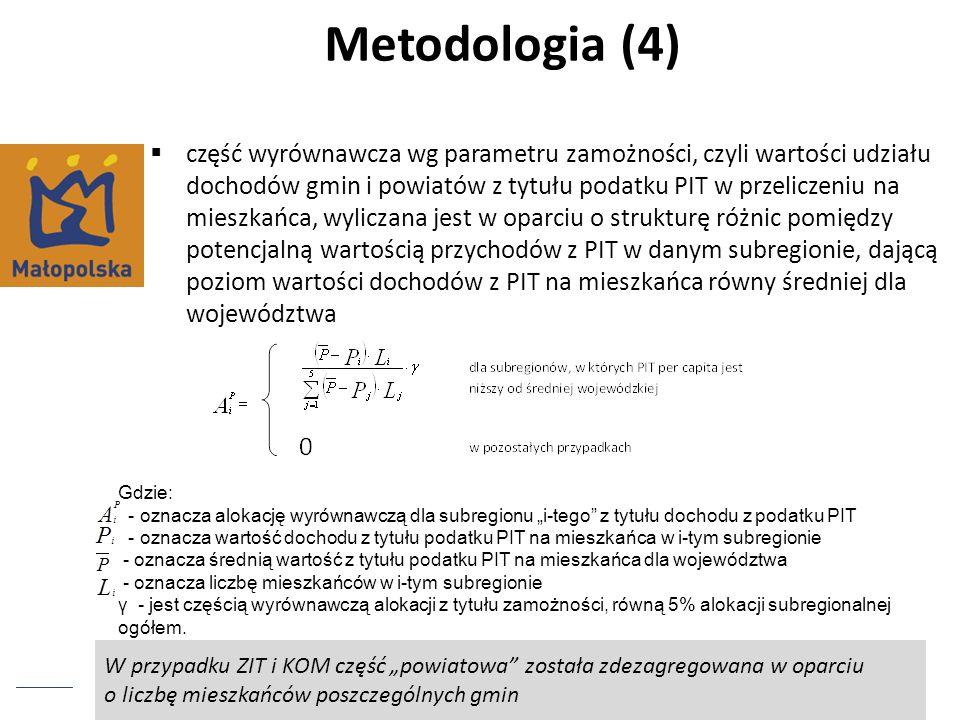W przypadku ZIT i KOM część powiatowa została zdezagregowana w oparciu o liczbę mieszkańców poszczególnych gmin Metodologia (4) część wyrównawcza wg p