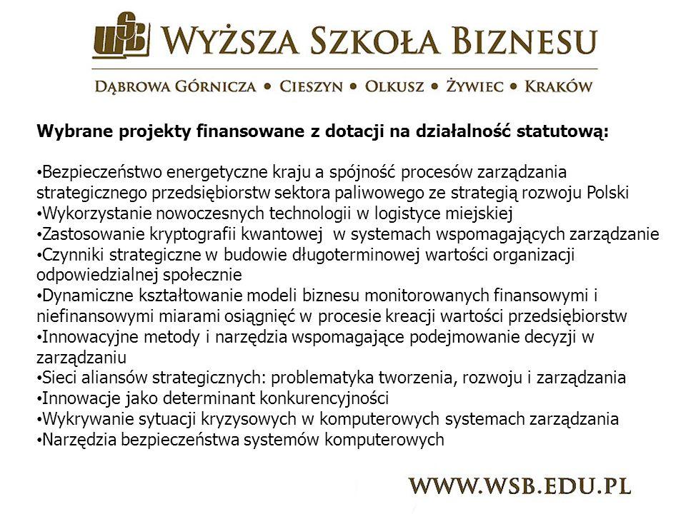 Wybrane projekty finansowane z dotacji na działalność statutową: Bezpieczeństwo energetyczne kraju a spójność procesów zarządzania strategicznego przedsiębiorstw sektora paliwowego ze strategią rozwoju Polski Wykorzystanie nowoczesnych technologii w logistyce miejskiej Zastosowanie kryptografii kwantowej w systemach wspomagających zarządzanie Czynniki strategiczne w budowie długoterminowej wartości organizacji odpowiedzialnej społecznie Dynamiczne kształtowanie modeli biznesu monitorowanych finansowymi i niefinansowymi miarami osiągnięć w procesie kreacji wartości przedsiębiorstw Innowacyjne metody i narzędzia wspomagające podejmowanie decyzji w zarządzaniu Sieci aliansów strategicznych: problematyka tworzenia, rozwoju i zarządzania Innowacje jako determinant konkurencyjności Wykrywanie sytuacji kryzysowych w komputerowych systemach zarządzania Narzędzia bezpieczeństwa systemów komputerowych