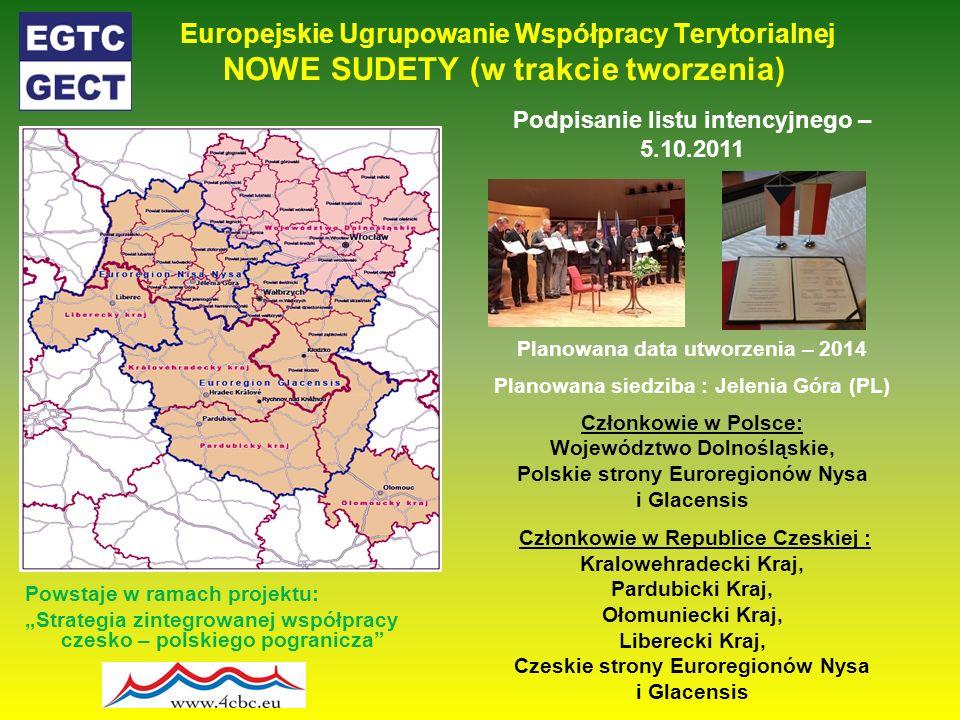 Europejskie Ugrupowanie Współpracy Terytorialnej NOWE SUDETY (w trakcie tworzenia) Powstaje w ramach projektu: Strategia zintegrowanej współpracy czes