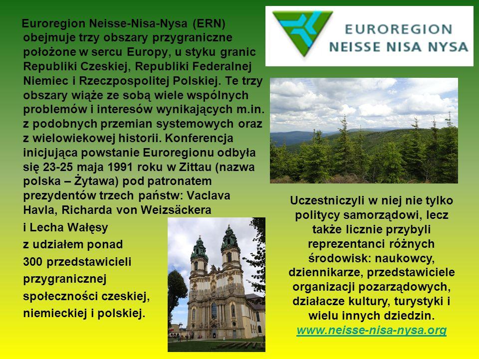 Euroregion Neisse-Nisa-Nysa (ERN) obejmuje trzy obszary przygraniczne położone w sercu Europy, u styku granic Republiki Czeskiej, Republiki Federalnej