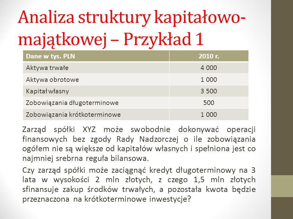Analiza struktury kapitałowo- majątkowej – Przykład 1 Dane w tys. PLN2010 r. Aktywa trwałe4 000 Aktywa obrotowe1 000 Kapitał własny3 500 Zobowiązania