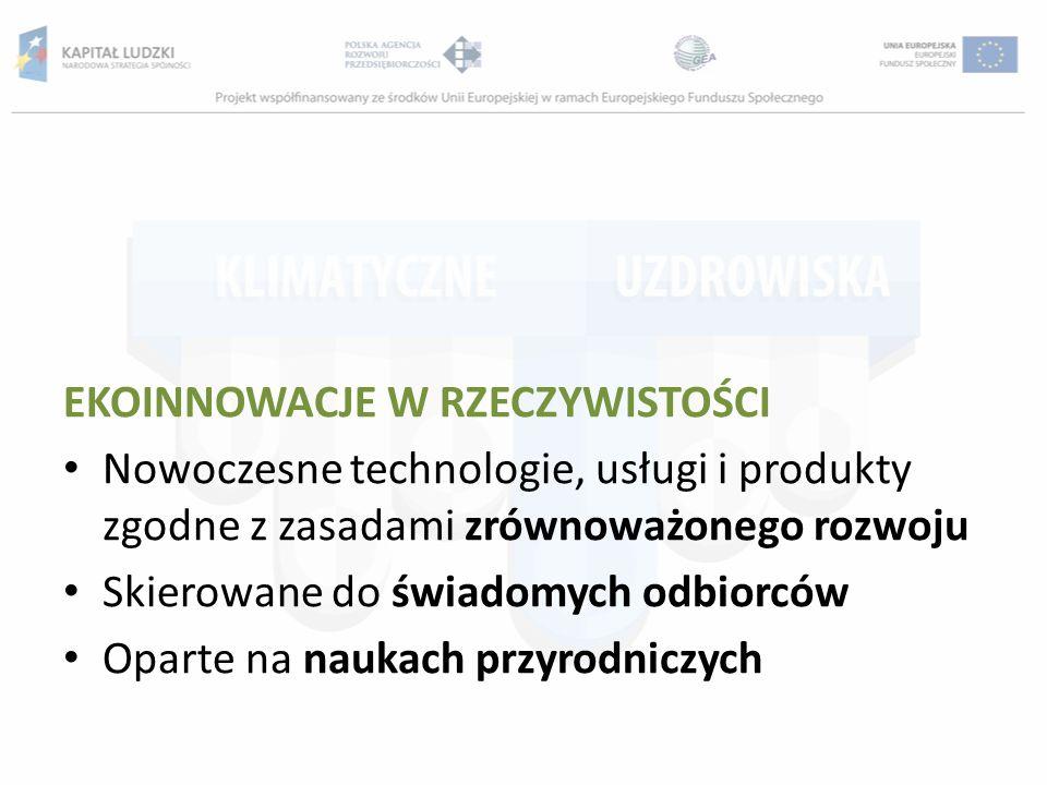 EKOINNOWACJE W RZECZYWISTOŚCI Nowoczesne technologie, usługi i produkty zgodne z zasadami zrównoważonego rozwoju Skierowane do świadomych odbiorców Op