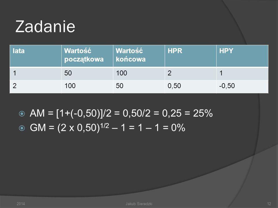 Zadanie lataWartość początkowa Wartość końcowa HPRHPY 150100 2 50 AM = [1+(-0,50)]/2 = 0,50/2 = 0,25 = 25% GM = (2 x 0,50) 1/2 – 1 = 1 – 1 = 0% 2014Ja