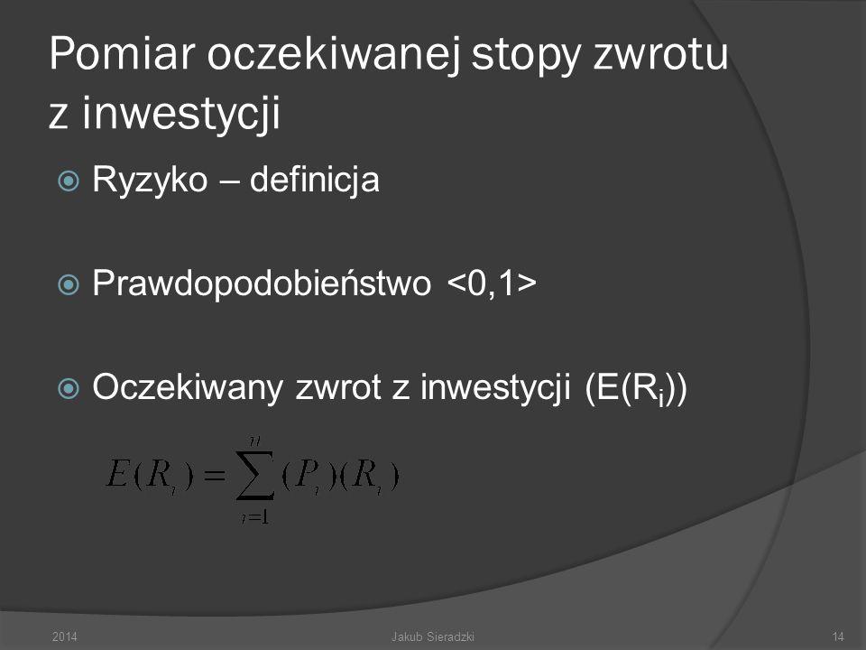 Pomiar oczekiwanej stopy zwrotu z inwestycji Ryzyko – definicja Prawdopodobieństwo Oczekiwany zwrot z inwestycji (E(R i )) 2014Jakub Sieradzki14