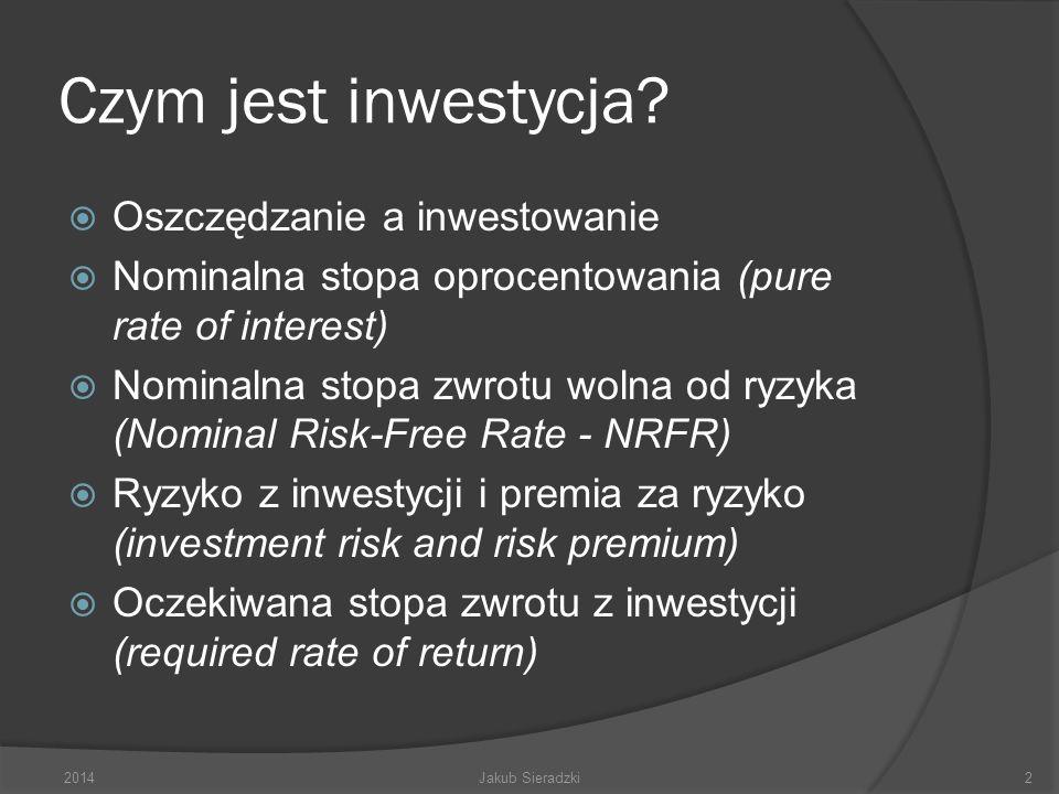 Czym jest inwestycja? Oszczędzanie a inwestowanie Nominalna stopa oprocentowania (pure rate of interest) Nominalna stopa zwrotu wolna od ryzyka (Nomin