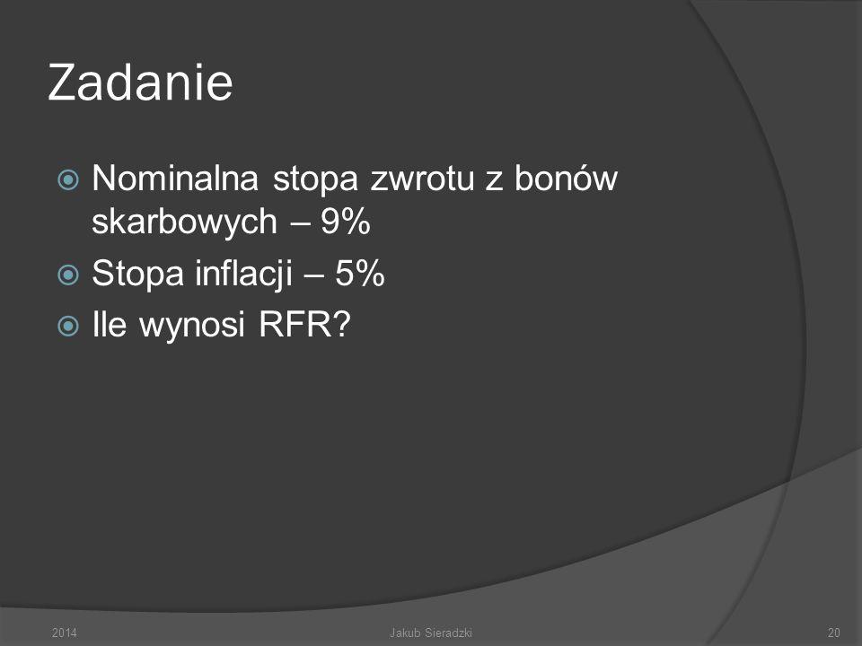 Zadanie Nominalna stopa zwrotu z bonów skarbowych – 9% Stopa inflacji – 5% Ile wynosi RFR? 2014Jakub Sieradzki20