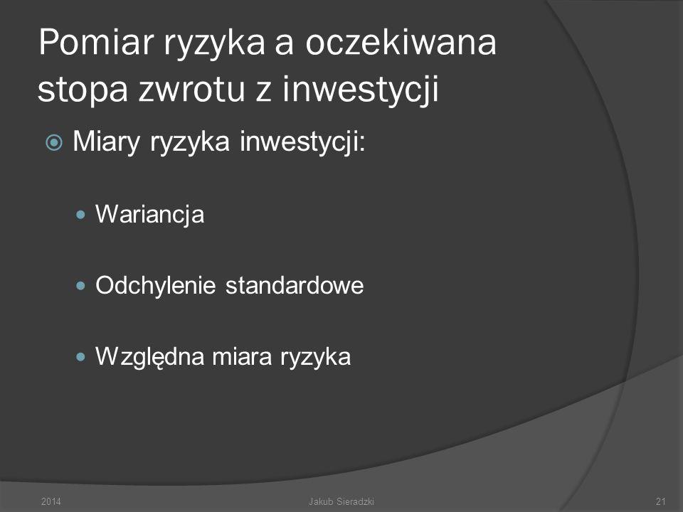 Pomiar ryzyka a oczekiwana stopa zwrotu z inwestycji Miary ryzyka inwestycji: Wariancja Odchylenie standardowe Względna miara ryzyka 2014Jakub Sieradzki21
