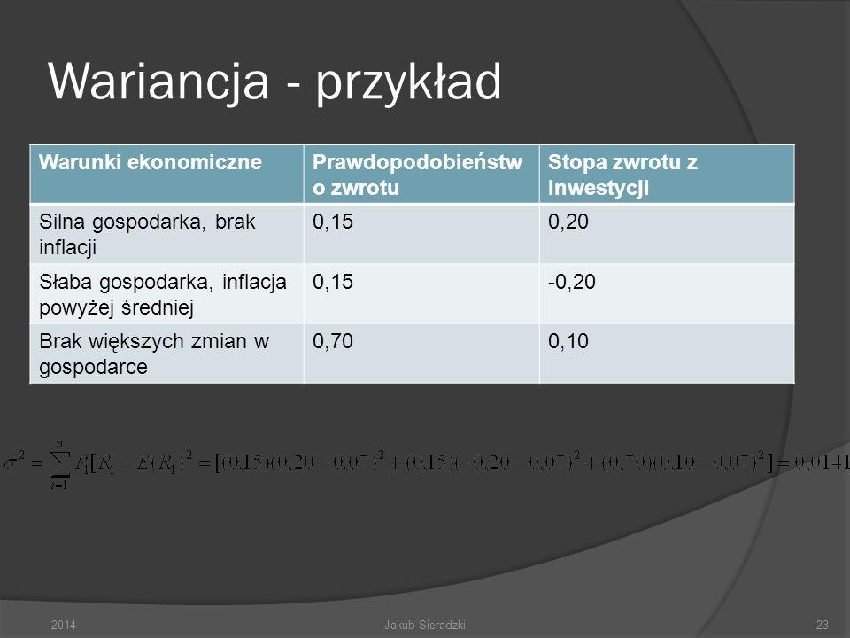 Wariancja - przykład 2014Jakub Sieradzki23 Warunki ekonomicznePrawdopodobieństw o zwrotu Stopa zwrotu z inwestycji Silna gospodarka, brak inflacji 0,1