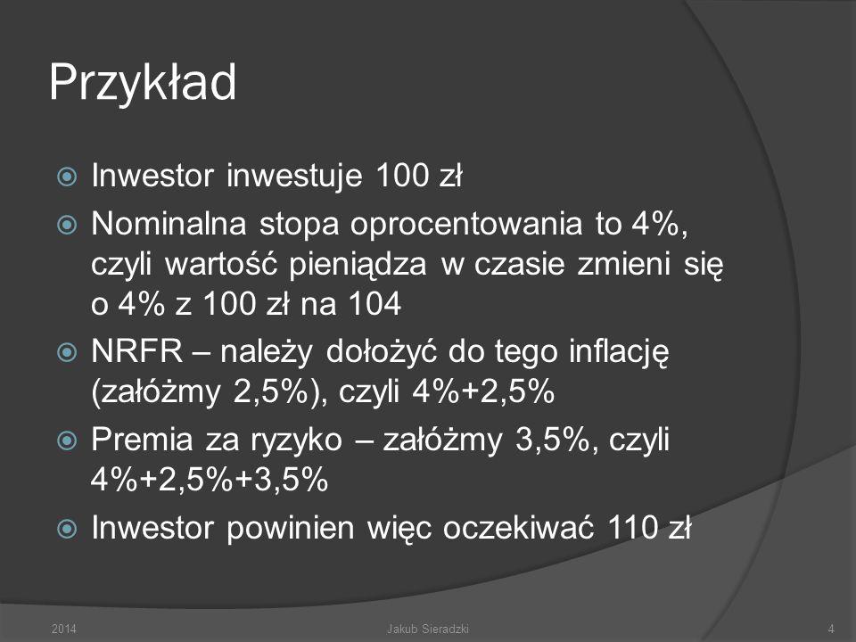 Przykład Inwestor inwestuje 100 zł Nominalna stopa oprocentowania to 4%, czyli wartość pieniądza w czasie zmieni się o 4% z 100 zł na 104 NRFR – należy dołożyć do tego inflację (załóżmy 2,5%), czyli 4%+2,5% Premia za ryzyko – załóżmy 3,5%, czyli 4%+2,5%+3,5% Inwestor powinien więc oczekiwać 110 zł 2014Jakub Sieradzki4