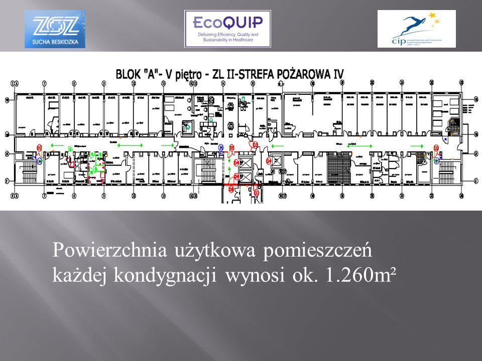 Powierzchnia użytkowa pomieszczeń każdej kondygnacji wynosi ok. 1.260m²