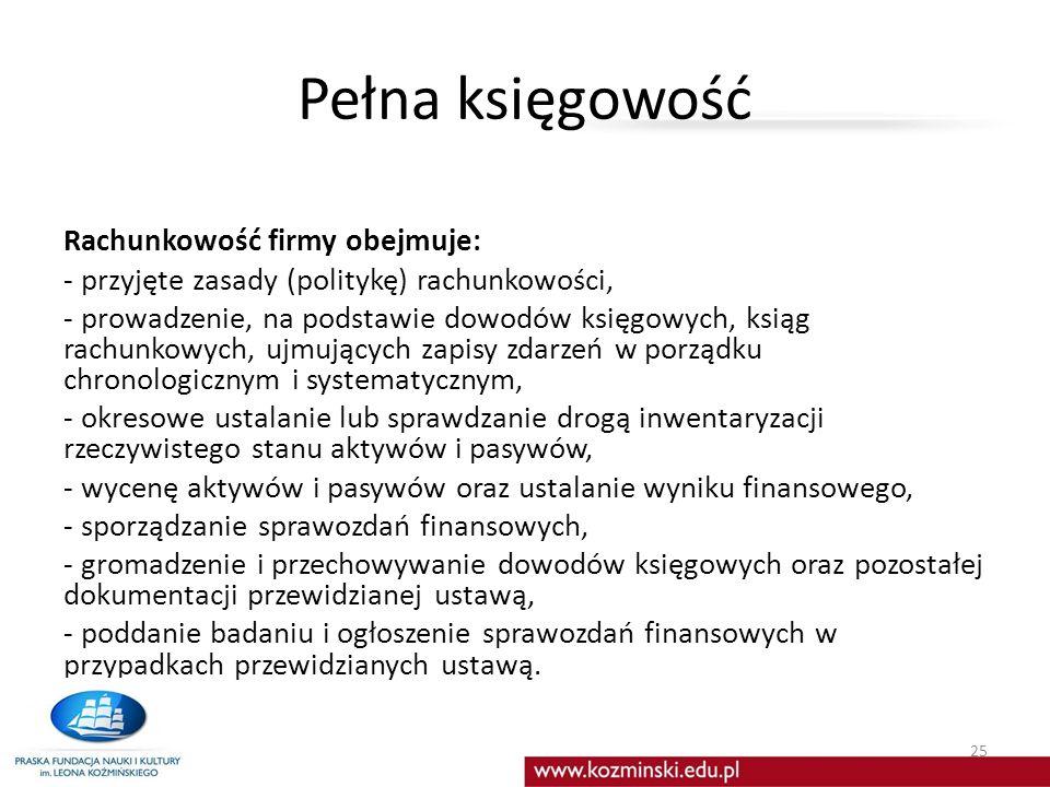 Pełna księgowość Rachunkowość firmy obejmuje: - przyjęte zasady (politykę) rachunkowości, - prowadzenie, na podstawie dowodów księgowych, ksiąg rachunkowych, ujmujących zapisy zdarzeń w porządku chronologicznym i systematycznym, - okresowe ustalanie lub sprawdzanie drogą inwentaryzacji rzeczywistego stanu aktywów i pasywów, - wycenę aktywów i pasywów oraz ustalanie wyniku finansowego, - sporządzanie sprawozdań finansowych, - gromadzenie i przechowywanie dowodów księgowych oraz pozostałej dokumentacji przewidzianej ustawą, - poddanie badaniu i ogłoszenie sprawozdań finansowych w przypadkach przewidzianych ustawą.