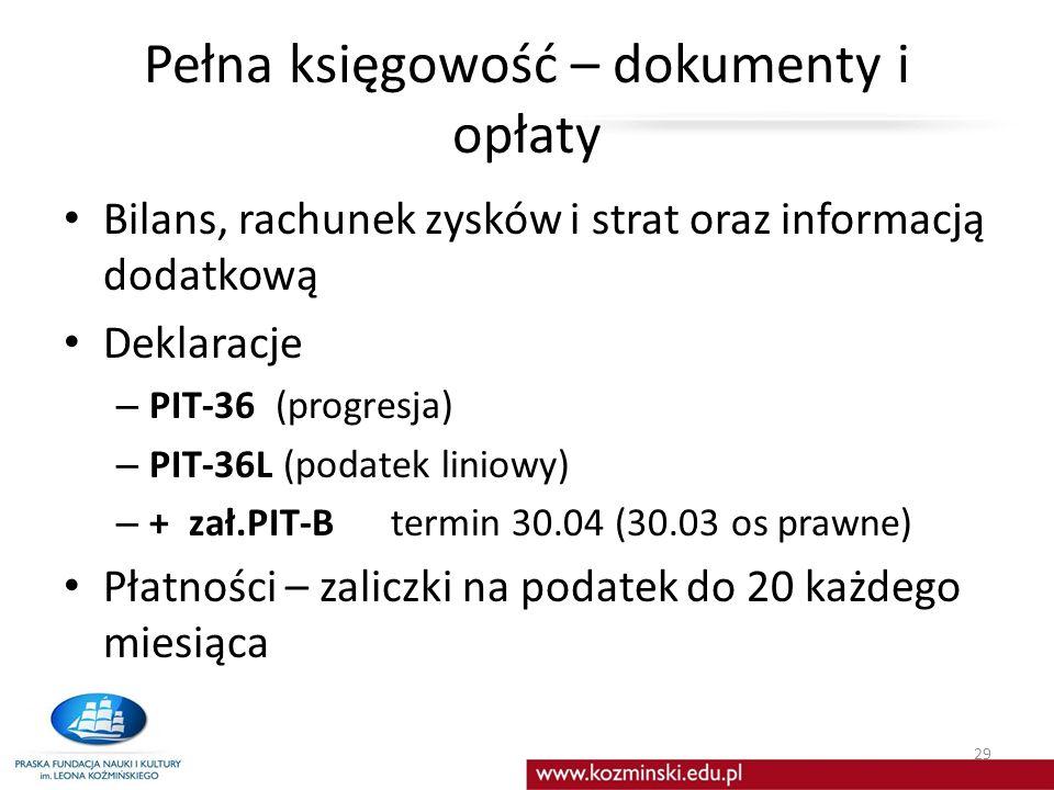 Pełna księgowość – dokumenty i opłaty Bilans, rachunek zysków i strat oraz informacją dodatkową Deklaracje – PIT-36 (progresja) – PIT-36L (podatek lin