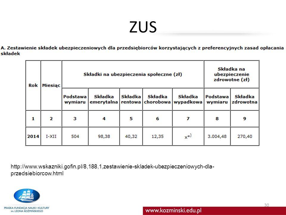 ZUS 30 http://www.wskazniki.gofin.pl/8,188,1,zestawienie-skladek-ubezpieczeniowych-dla- przedsiebiorcow.html