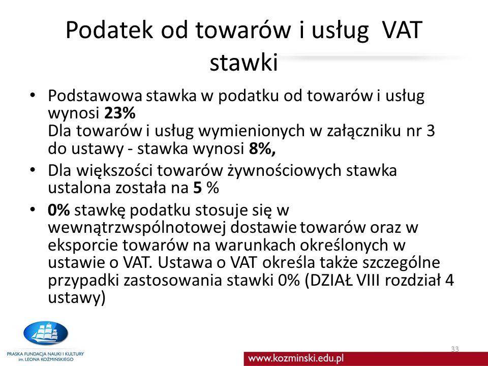 Podatek od towarów i usług VAT stawki Podstawowa stawka w podatku od towarów i usług wynosi 23% Dla towarów i usług wymienionych w załączniku nr 3 do