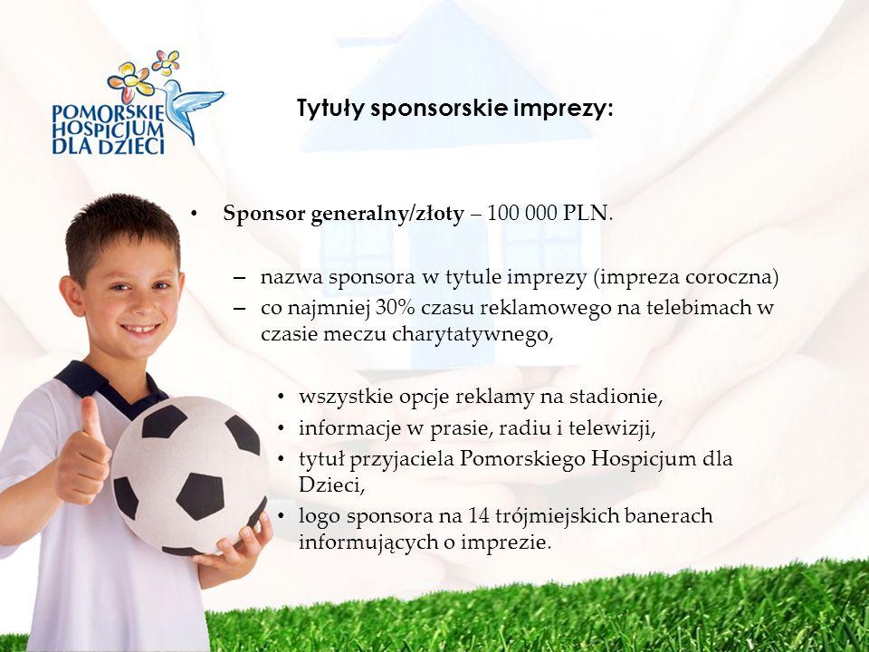 Tytuły sponsorskie imprezy: Sponsor generalny/złoty – 100 000 PLN. – nazwa sponsora w tytule imprezy (impreza coroczna) – co najmniej 30% czasu reklam