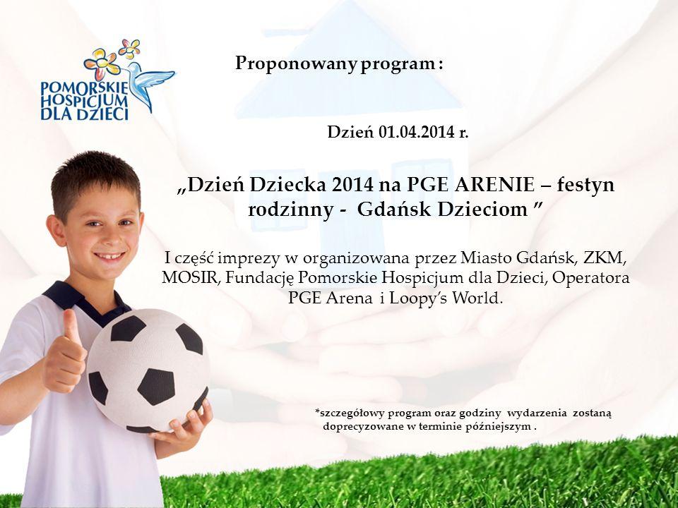 Proponowany program : Dzień 01.04.2014 r. Dzień Dziecka 2014 na PGE ARENIE – festyn rodzinny - Gdańsk Dzieciom I część imprezy w organizowana przez Mi