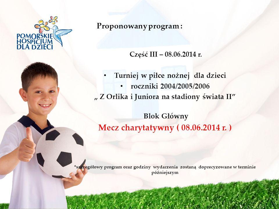 Proponowany program : Część III – 08.06.2014 r. Turniej w piłce nożnej dla dzieci roczniki 2004/2005/2006 Z Orlika i Juniora na stadiony świata II Blo