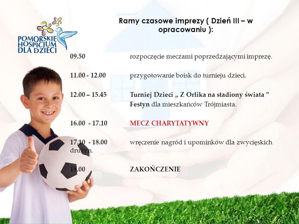 Ramy czasowe imprezy ( Dzień III – w opracowaniu ): 09.50 rozpoczęcie meczami poprzedzającymi imprezę. 11.00 - 12.00 przygotowanie boisk do turnieju d