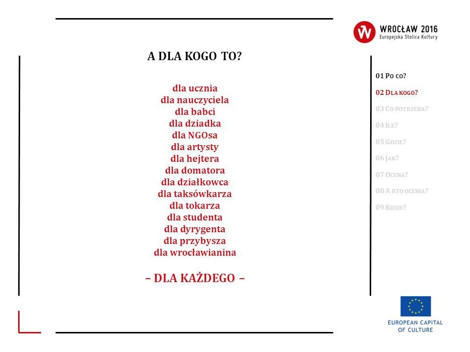 A CO TRZEBA ZROBIĆ.+ wniosek o współorganizację projektu KRS lub 01 P O CO .