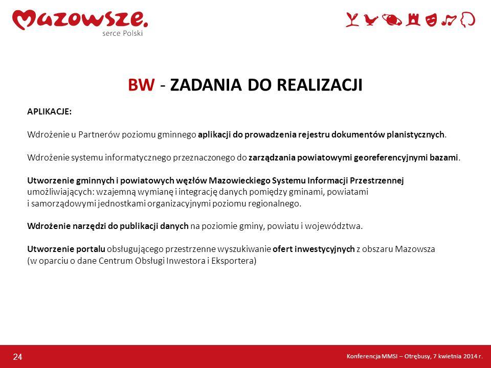 24 BW - ZADANIA DO REALIZACJI APLIKACJE: Wdrożenie u Partnerów poziomu gminnego aplikacji do prowadzenia rejestru dokumentów planistycznych. Wdrożenie