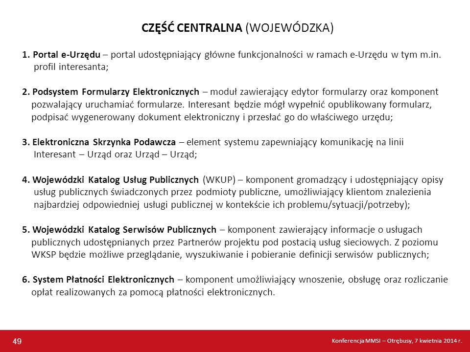 CZĘŚĆ CENTRALNA (WOJEWÓDZKA) 1. Portal e-Urzędu – portal udostępniający główne funkcjonalności w ramach e-Urzędu w tym m.in. profil interesanta; 2. Po