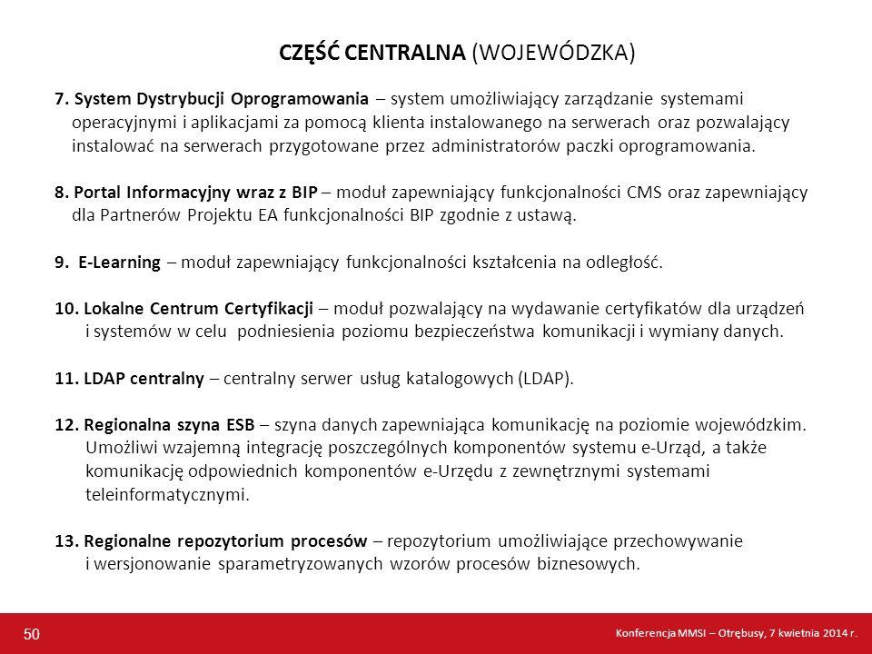 CZĘŚĆ CENTRALNA (WOJEWÓDZKA) 7. System Dystrybucji Oprogramowania – system umożliwiający zarządzanie systemami operacyjnymi i aplikacjami za pomocą kl
