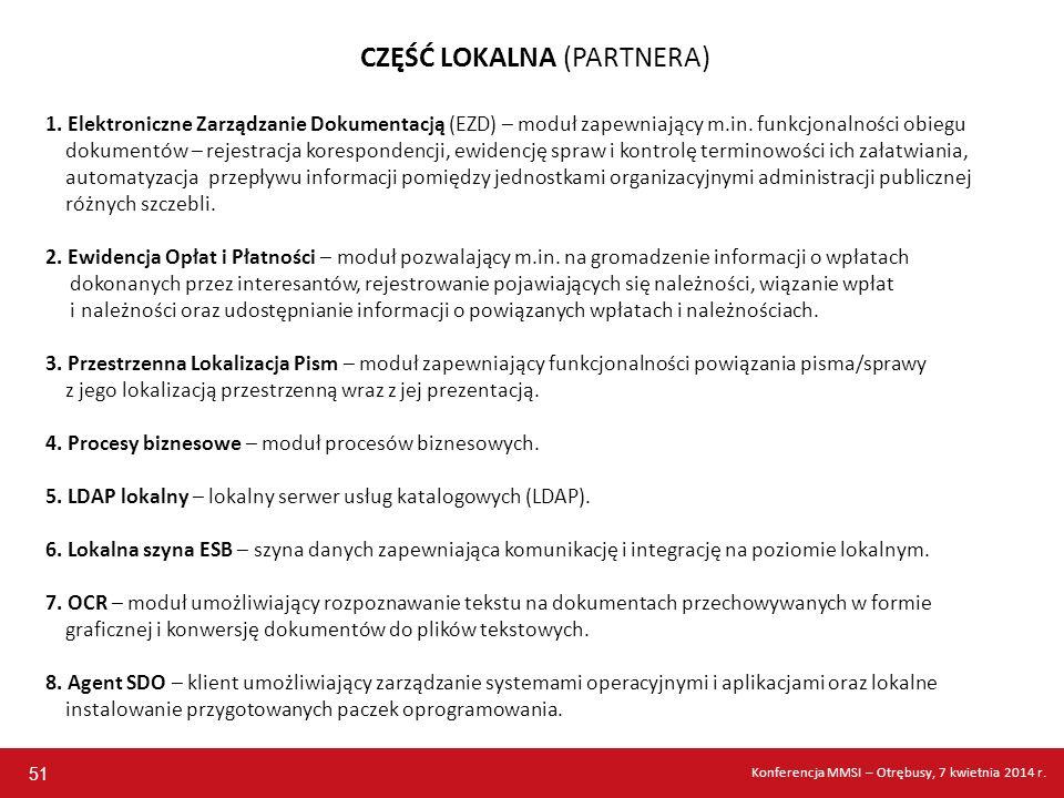CZĘŚĆ LOKALNA (PARTNERA) 1. Elektroniczne Zarządzanie Dokumentacją (EZD) – moduł zapewniający m.in. funkcjonalności obiegu dokumentów – rejestracja ko