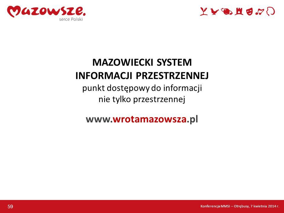 59 MAZOWIECKI SYSTEM INFORMACJI PRZESTRZENNEJ punkt dostępowy do informacji nie tylko przestrzennej www.wrotamazowsza.pl Konferencja MMSI – Otrębusy,