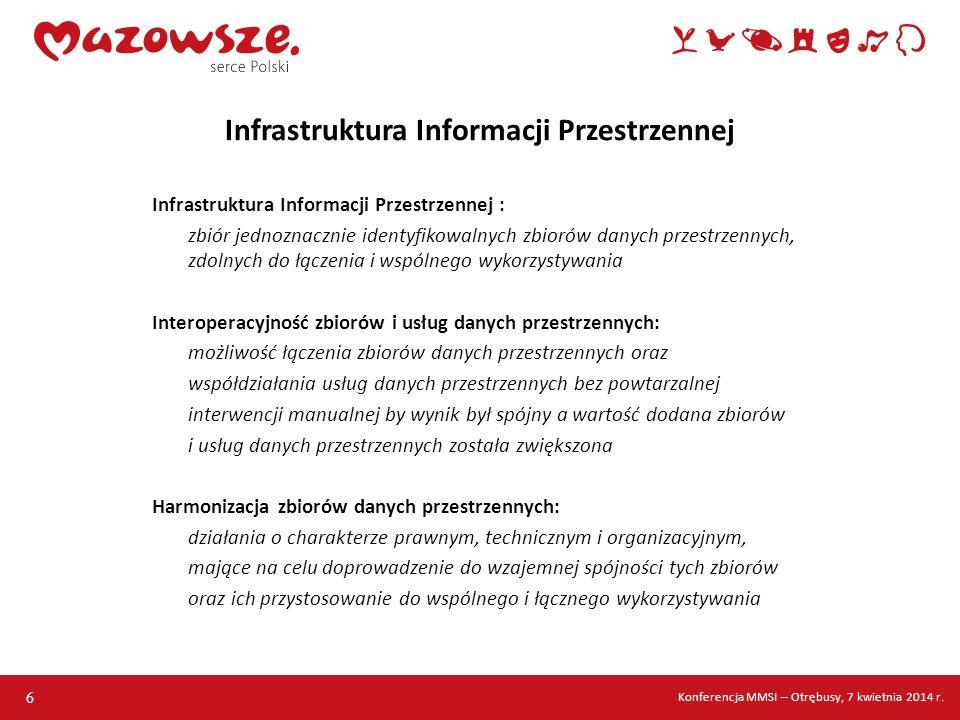 Infrastruktura Informacji Przestrzennej : zbiór jednoznacznie identyfikowalnych zbiorów danych przestrzennych, zdolnych do łączenia i wspólnego wykorz