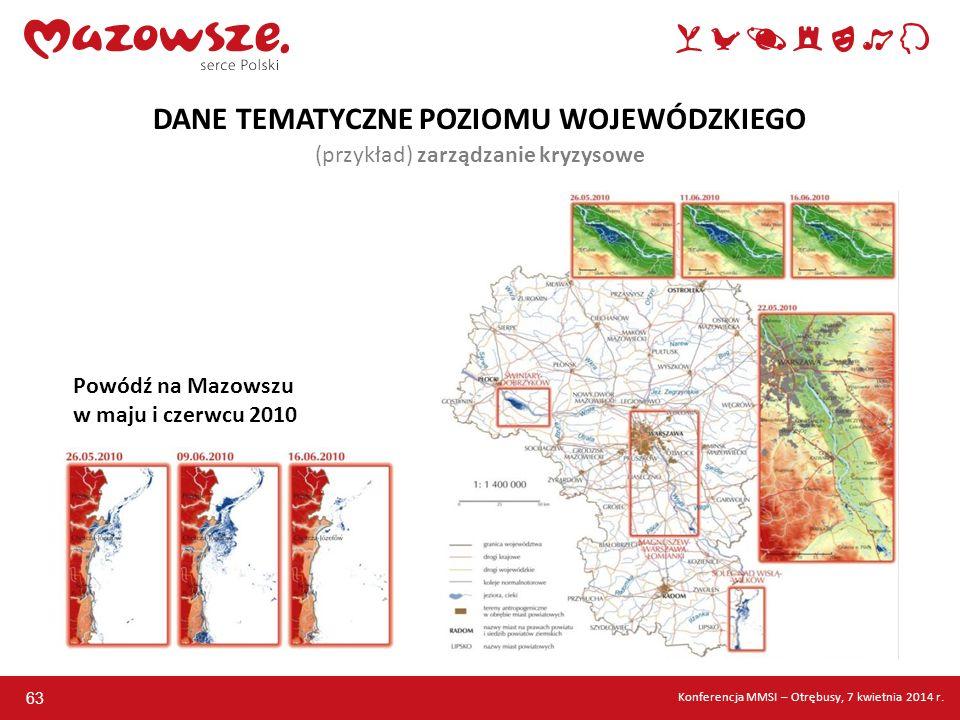 63 DANE TEMATYCZNE POZIOMU WOJEWÓDZKIEGO (przykład) zarządzanie kryzysowe Powódź na Mazowszu w maju i czerwcu 2010 Konferencja MMSI – Otrębusy, 7 kwie