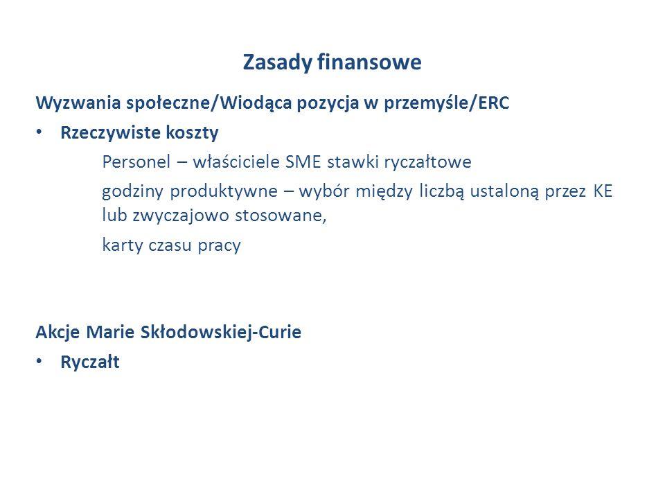 Zasady finansowe Wyzwania społeczne/Wiodąca pozycja w przemyśle/ERC Rzeczywiste koszty Personel – właściciele SME stawki ryczałtowe godziny produktywne – wybór między liczbą ustaloną przez KE lub zwyczajowo stosowane, karty czasu pracy Akcje Marie Skłodowskiej-Curie Ryczałt