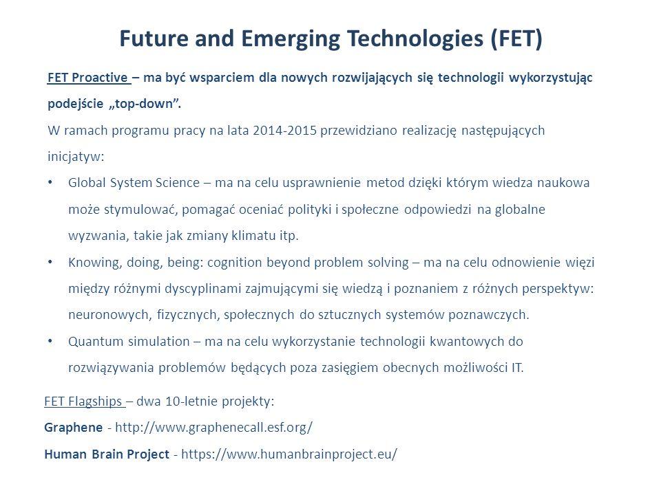 Future and Emerging Technologies (FET) FET Proactive – ma być wsparciem dla nowych rozwijających się technologii wykorzystując podejście top-down.