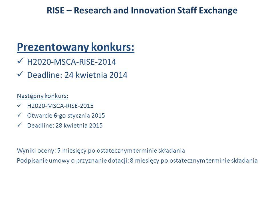 Prezentowany konkurs: H2020-MSCA-RISE-2014 Deadline: 24 kwietnia 2014 Następny konkurs: H2020-MSCA-RISE-2015 Otwarcie 6-go stycznia 2015 Deadline: 28 kwietnia 2015 Wyniki oceny: 5 miesięcy po ostatecznym terminie składania Podpisanie umowy o przyznanie dotacji: 8 miesięcy po ostatecznym terminie składania RISE – Research and Innovation Staff Exchange
