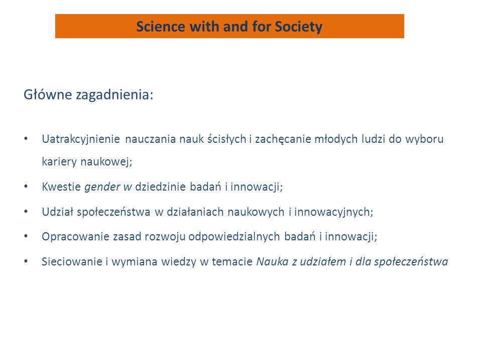 Główne zagadnienia: Uatrakcyjnienie nauczania nauk ścisłych i zachęcanie młodych ludzi do wyboru kariery naukowej; Kwestie gender w dziedzinie badań i innowacji; Udział społeczeństwa w działaniach naukowych i innowacyjnych; Opracowanie zasad rozwoju odpowiedzialnych badań i innowacji; Sieciowanie i wymiana wiedzy w temacie Nauka z udziałem i dla społeczeństwa Science with and for Society